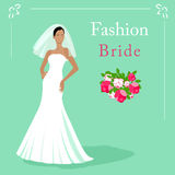 Vector Illustration of a fashion beautiful bride in white wedding dress with a bouquet. EPS 10 Royalty Free Stock Photo