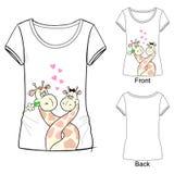 Vector illustration fashion cute t-shirt with giraffes vector illustration