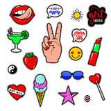 Vector illustration of fashion fun patch stickers with lips, lipstick, hearts, hand, speech bubbles and other. Set of trend badges, pins isolated on white royalty free illustration