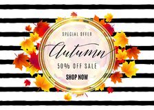 Vector illustration of fashion hello autumn sale poster Royalty Free Stock Photo