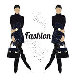 Vector illustration fashion style with fashion model Royalty Free Stock Photography