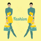 Vector illustration fashion style with fashion model Stock Images