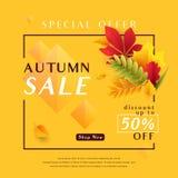 Vector illustration of fashion yellow autumn sale banner Stock Photo