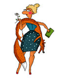 Vector illustration of a fashionable lady with a fox. Vector illustration of a fashionable woman with a fox boa, humorous cartoon Stock Images