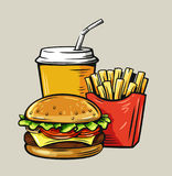 Vector illustration fast food. Vector illustration of fast food on beige Stock Images