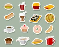Fast food icons. Vector illustration of fast food icons on blue background Royalty Free Stock Image