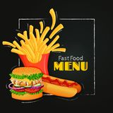 Fast food menu template. Colorful burger, french fries and hot dog. Vector illustration. Fast food poster, sign, menu template. Grilled burger, french fries and Stock Photos