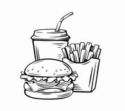 Vector illustration fast food. Vector illustration of fast food on white Stock Photography