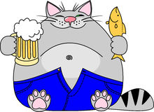 Vector illustration fat funny gray cat with a big beer belly wearing blue jeans holds a mug of beer and a fish in hand Stock Photo