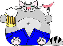 Vector illustration fat funny gray cat with a big beer belly wearing blue jeans holds a mug of beer and a sausage Royalty Free Stock Image