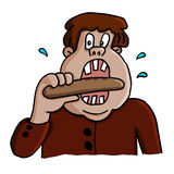 Vector illustration of a fat man eating  sausage. Stock Image