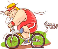 Vector illustration of fat man riding a bicycle Royalty Free Stock Image