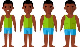 Vector illustration fat and slim african american man. Diet concept. Royalty Free Stock Images