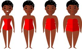 Vector illustration fat and slim african american woman. Diet concept. Royalty Free Stock Image