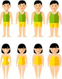 Vector illustration fat and slim asian woman man. Diet concept. Royalty Free Stock Photography