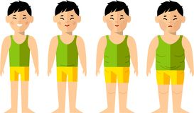 Vector illustration fat and slim people.Diet concept. Royalty Free Stock Image
