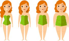 Vector illustration fat and slim woman. Diet concept. Royalty Free Stock Photos