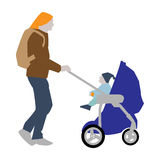 Vector illustration of a father with a backpack carries a child in a stroller. Flat style Stock Photos
