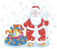 Santa Claus with a gift bag Stock Illustration