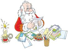 Santa Claus reading letters Royalty Free Stock Images