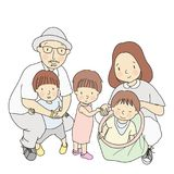 Vector illustration of father, mother and three little kids, one in dad arm, one standing, one sitting in toy bag. Family. Parenthood, early childhood royalty free illustration