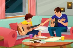 Father Playing Guitar with His Son Illustration Royalty Free Stock Photo