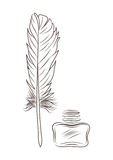 Vector illustration of feather and inkpot isolated on white Stock Photos