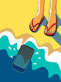 Vector illustration. Feet on a sandy beach near the sea. Stock Photo