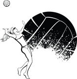Female Beach Volleyball Player with Splatter Ball Royalty Free Stock Images