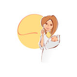 Vector illustration of a female doctor with newborn baby. Royalty Free Stock Images