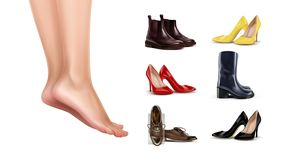 Vector illustration of female feet standing on finger toes and collection of different shoes on background. Vector illustration of female feet standing on finger vector illustration