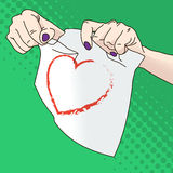 Vector illustration of female hands tearing paper Royalty Free Stock Photography