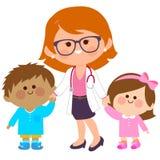 Female pediatrician and sick children Stock Images