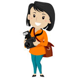 Female Photographer Holding a Digital Camera Royalty Free Stock Photo