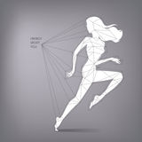Vector illustration of female runner. Vector illustration of running woman silhouette in triangles and polygons scheme shape infographic Royalty Free Stock Photo