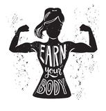 Vector illustration of female silhouette doing bicep curl. Vector lettering illustration Earn your body. Black female silhouette doing bicep curl and hand Royalty Free Stock Image