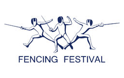 Vector illustration of fencers with foil, sabre, epee. Fencing competition advertising design Royalty Free Stock Photo