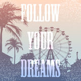 Vector illustration of Ferris wheel and palm tree. Vector illustration of Big Ferris wheel and palm tree with print for t-shirt graphic with slogan Follow your Royalty Free Stock Photography