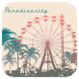 Vector illustration of Ferris wheel and palm tree. Vector illustration of Big Ferris wheel and palm tree with print for t-shirt graphic with text Paradise city Stock Images