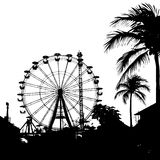 Vector illustration of Ferris wheel and palm tree Stock Photography