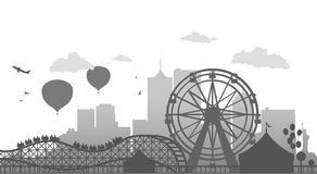 Ferris Wheel. Vector Illustration of Ferris Wheel Silhouette Stock Image