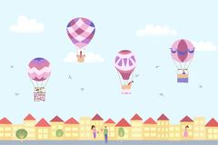 Vector landscape with hot air balloons and town. Vector illustration of festival landscape with hot air balloons in blue sky in town. Isolated flat cartoon air Stock Photography