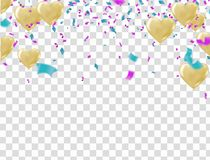 Vector illustration festive background with balloons and confett. I, birthday Royalty Free Stock Images