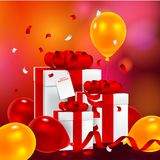 Birthday gift box with paper card. Vector illustration festive background birthday with gifts and balloons with confetti Royalty Free Stock Image