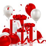 Vector illustration festive background birthday with gifts and balloons with confetti. Luxury colorful balloons, confetti and gift boxes isolated on white Royalty Free Stock Images