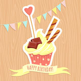 Vector illustration Festive birthday cake on wooden background. Royalty Free Stock Photography