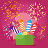 Vector illustration with festive box, fireworks and missiles. Flat illustration, EPS10. Vector illustration with festive box, fireworks and missiles. Flat Royalty Free Stock Image