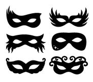 Vector illustration festive masks silhouette in black on a white background Royalty Free Stock Photos