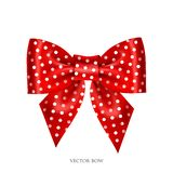 Dotted red bow. Vector illustration of festive red bow with ribbons Royalty Free Stock Photos