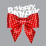 Dotted red bow. Vector illustration of festive red bow with ribbons Stock Image